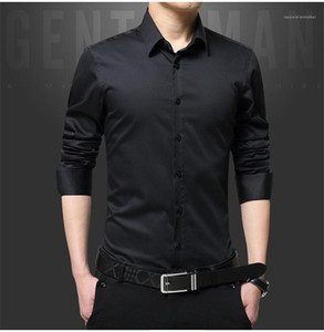 Mens Designer Shirts Lapel Neck Single Breasted Best Man Wedding Shirts Long Sleeve Casual Mens Polos Solid Color Business