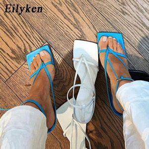Eilyken Summer New Fashion Pinch Narrow Band Women Gladiator Sandal Ladies Square Open Toe Ankle Buckle Strap Stiletto Heels CY200518