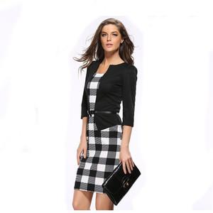 Черный Plaid Профессиональный платье Тонкий Ложные двухкусочный карандаш платье с длинным рукавом Деловые костюмы работать платья женщин юбки Одежда Drop Доставка