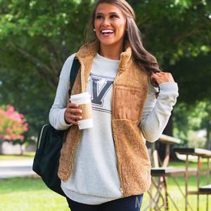 Nagelneues Frauen Ärmel Fleece Pullover Fluffy Weste Weibliche Fleece Cardigan Winter-Herbst Mäntel fallen Warm Tops Pullover 4 Farben