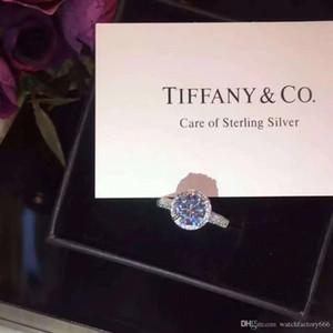 mulheres jóias prata 925 marca anel de diamantes de luxo forma Alto Carbono diamante garra quatro Rodada Anel Simples anel caixa original Casal