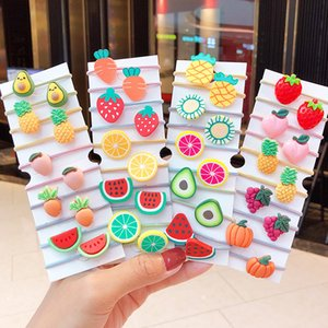 10PCS Set Sweet Fruit Vegetable Elastic Girls Cute Hair Bands Kids Ponytail Holder Lovely Rubber Bands Fashion Hair Accessories