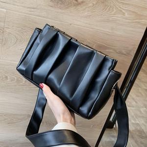 مطوي المرأة الكتف حقيبة 2019 أحدث طبعة الشتاء حقائب شخصية عالية الجودة حقيبة مع حزام الكتف معقود