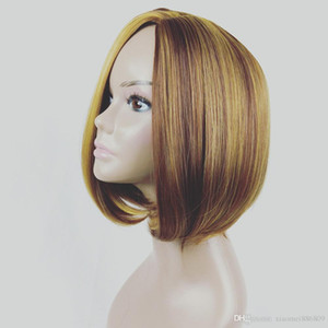 Parrucca corta donna UK Bob Haircut Capelli sintetici Capelli lisci Look naturale