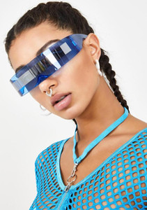 Super Large Futuristic Oversize Shield Visor Sunglasses Flat Top Mirrored Mono Lens Fashion Lady Sunglasses FML