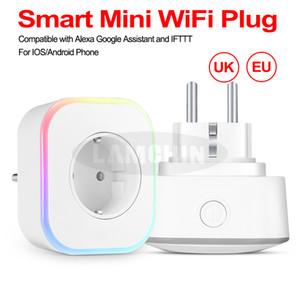 Smart Mini WiFi Plug Adaptador de control remoto inalámbrico Cargador de pared con temporizador y salida Compatible con Google Voice Alexa