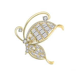 Alta Qualidade Cobre Zircon Broche Pin Tendência Personalidade Natureza Animal Borboleta Borboleta Brooch Dress Melhor Presente de Aniversário Do Casamento