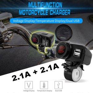 Красный светодиодный мотоцикл USB зарядное устройство 2.1A + 2.1A ж / цифровой вольтметр + термометр AU