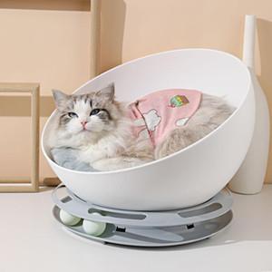 작은 개 고양이 둥지 겨울 따뜻한 라운드 고양이 침대 집 소프트 긴 봉제 라운드 애완 동물 개 침대는 강아지 매트 5 침대 잠자는