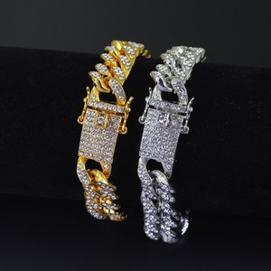Gold Полностью Iced Out Hip Hop CZ браслет Mens Майами кубинский браслет роскошь людей Сымитированный Bling Стразы Браслеты Dropshipping
