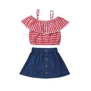 Baby Girl Red Plaid Sling Ruffled Топ Джинсовый Короткие юбки 2Pcs одежды Набор малышей Детский Outfit лето