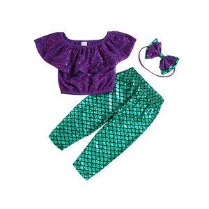 아기 소녀 인 어 공주 차림새 오프 어깨 위로 + 머리띠가있는 물고기 저울 바지 3pcs / set 2019 여름 패션 키즈 의류 세트 C5860