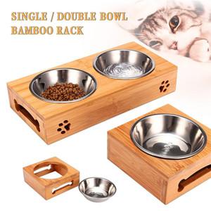 Doppelzimmer Einzel Hundenäpfe für Haustier-Welpen-Edelstahl Bambus Rack-Nahrungsmittelwasser-Schüssel-Zufuhr Pet Katzen Futternäpfe Hunde Trinken Bowl