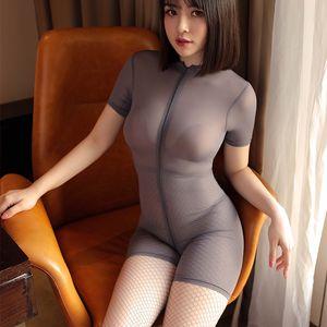 Ultra-delgado de la entrepierna de la cremallera del doble de una pieza Pura lencería corto de manga corta Body mujer dormir atractiva Leotardo LY191222