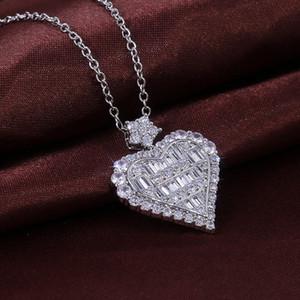 Bling Bling Colar Coração Zircon Mulheres strass colar coração colar de jóias presente para Acessórios do casamento do amor