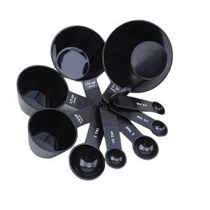 Cuisson Ustensiles de cuisine Cuillère mesure facile en plastique noir Retrait Collection Coupes Measuring Spoons Outils de cuisine 9PCS / Set