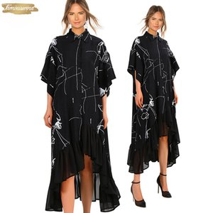 2019 Elbise Kadınlar Yaz Artı boyutu Uzun Siyah Casual Gömlek fırfır Düzensiz Stripes Baskı Bayanlar Robe Elbise Kulübü Femme 3751
