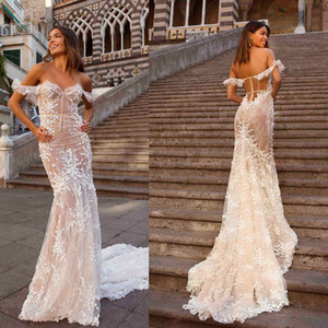 New Berta Mermaid Wedding Dresses Off Shoulder Short Sleeve Bridal Gowns Sexy See Through Plus Size Sweep Train Wedding Dress