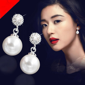 famous designer Fashion gift free shipping 1pair lot long pearl hypoallergenic earrings spiral female earrings jewelry