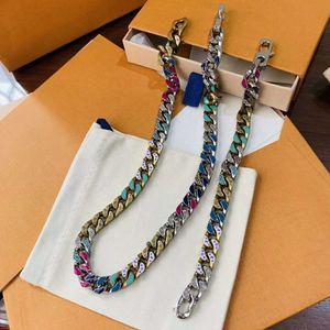 New hot sale Cuban chain color jewelry necklace fashion wild neutral bracelet set