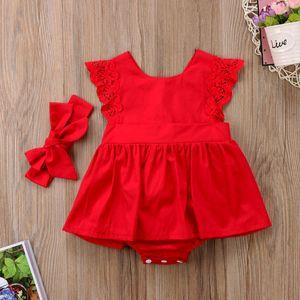 Pianura Neonate Pagliaccetto Fascia Vestito Tuta Abiti Abbigliamento Rosso Casual Merletto Fasciatura Vestiti del bambino vestito 0-24 M 2 set / 4 pz