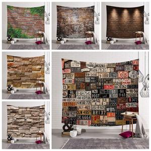 ladrillos de piedra tela telón de fondo de la vendimia licencia placa tapiz cabecero colgar de la pared Tapiz de cabecera decoración granja decoración