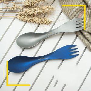 Açık Kamp Çatal Kaşık Çift Kullanım Çatal Kaşık Taşınabilir Düşmeye Direnç Mavi Titanyum Malzeme Sıcak Satış 13oy C1