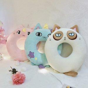 Cartoon Creative Donut Cat Nap Oreiller Coussin en peluche Bureau Coussin Petite amie cadeau