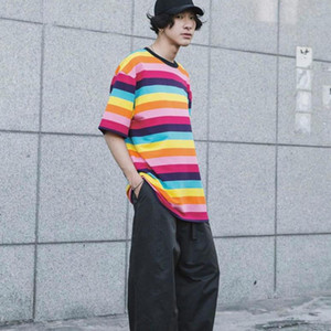TOP Couleur Pleasures rayé T-shirt ras du cou T-shirt meilleure chemise rayée Hommes Femmes Couple Casual Street Top Mode d'été Deux couleurs HFHLTX031