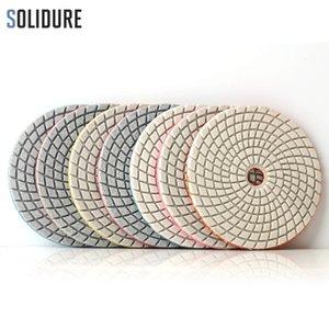 7pcs / set 4 inch 100mm spiral diamond polishing pads for wet polishing granite, marble engineered stone sanding disc