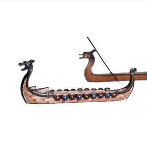 Creative Dragon Boat Incense Sculpté encensoir Ornements Rétro encens Burners traditionnel encens navire Brûleur résine Artisanat cadeau