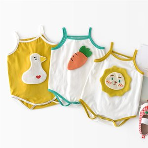 fashion Toddler Baby Girls boys sleeveless sling Bodysuit Romper Cartoon carrot lion duck Patch Clothes Outfits Set