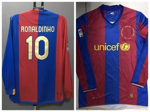 Retro clássico 2005 2006 2007 2008 HENRY RONALDINHO futebol manga PUYOL XAVI MESSI longa camisola de futebol retro camisa cheia S-2XL