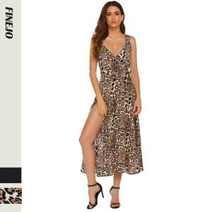 2020 Hot vente des modèles d'explosion européen et nouveau côté sexy robe imprimé léopard des femmes américaines Fractionnement robe