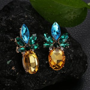 Luokey Créativité cristal Pineapple Boucles d'oreilles pour les femmes Personnalité Fruit Dangle Boucles d'oreilles Brincos bijoux à la mode 2020 Cadeaux
