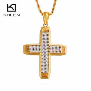 Gros Ethiopian Or En Acier Inoxydable Croix Pendentif Collier Pour Hommes Complet Cubique Zircon De Luxe Chunky Croix Collier Bijoux Cadeaux