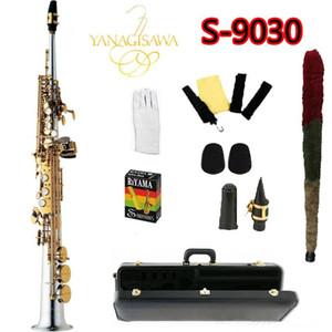 Top YANAGISAWA S-9030 B Tono Compartido Saxofón Soprano niquelado Gold Key Case y Accesorios duro Sax Profesional Con Boquilla