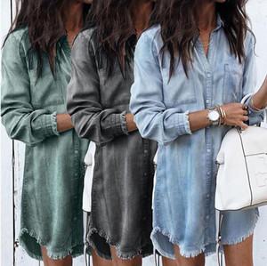 Womens Casual Denim Vestido camisa Camiseta básica Turn Down Collar Office Lady soltas camisas vestido de festa S-5XL New Style Rua vestido estilo