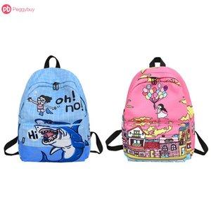 Blue Pink Graffiti impressão dos desenhos animados Mochila Mulheres menina Nylon Viagem Ombro mochilas Big Capacidade fácil de transportar