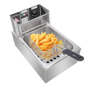 6L Paslanmaz Çelik Tek Silindir Elektrikli Fritöz Yağ Tankı Patates Kızartması Fried Chicken Chip Home For Ticari ABD Plug 110V
