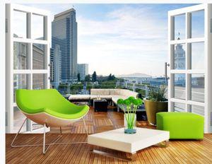 Yüksek kaliteli özel 3d perde kumaş Şehir balkon 3D manzara arka plan duvar boyama