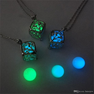 Tree Of Life Dark Luminous Beautifully Collares Collar de cadena de color plateado que brilla en la oscuridad Collares pendientes Collares Maxi Gargantilla Joyas