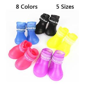 4pcs pack bottes de pluie pour animaux de compagnie en plein air antidérapant durable chaussures de pluie pour animaux de compagnie petit chien grand chien imperméable botte de pluie de protection 8 couleurs DBC DH0982-5