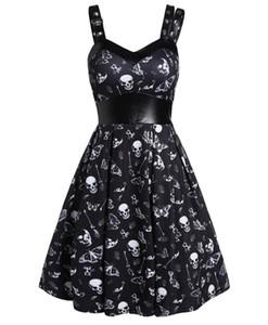 Chegada Nova gótico do crânio Lolita Vestido meninas adolescentes Verão Vestido Casual Couro Steampunk vestido diário 2.020 Dating Punk Saias Plus Size