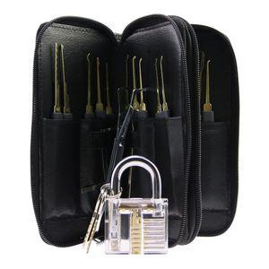 أعلى جودة الفولاذ المقاوم للصدأ 24PCS قفل GOSO اللقطات Lockpick الأقفال سريعة قفل فتاحة مع حقيبة جلدية + شفاف قفل قفل الممارسة
