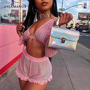 ANJAMANOR Ruffle Pink Mesh 2 Pieces Femmes Set Crop Top et Shorts Festival D'été Sexy Matching Sets Club Outfits D58-AD70