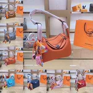 Оригинальные сумки H Hermès Горячие 2020 новых женщин тавра Роскошная сумка личи Кожа Lindy Раскладушка сумка с шарф