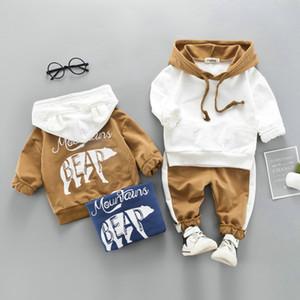 بدلة طفل بنين الربيع الخريف الدب القطبي الرياضة 2PCS مجموعة رياضية ملابس أطفال يحدد عارضة مجموعات بنين مقنع الملابس