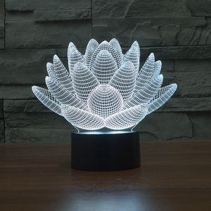 Lotus görsel stereo ışık LED gece lambası 3d yaratıcı küçük masa lambası hediye atmosfer ışık