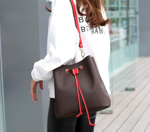 qualidade de moda de couro genuíno saco balde mulheres famosas bolsas com cordão de flores impressão bolsa crossbody